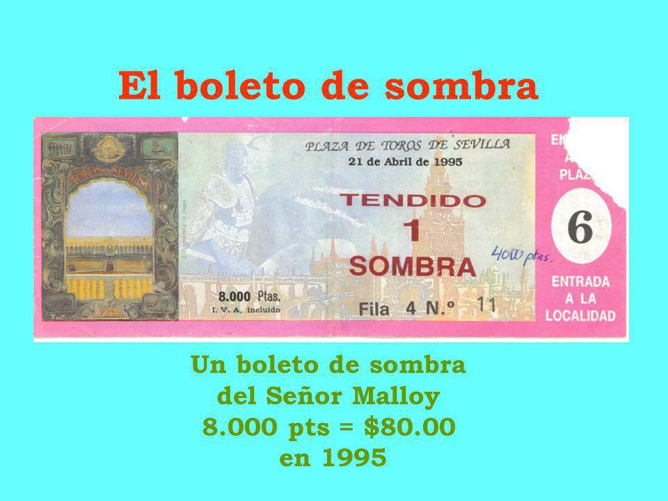 El boleto de sombra Un boleto de sombra del Señor Malloy 8.000 pts = $80.00 en 1995