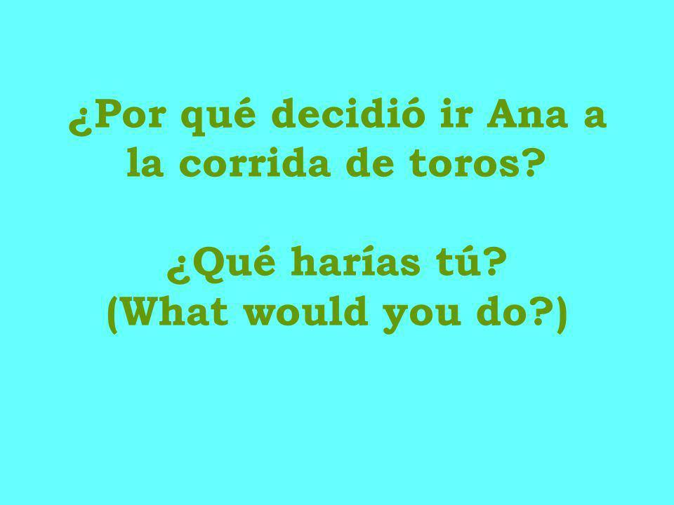 ¿Por qué decidió ir Ana a la corrida de toros? ¿Qué harías tú? (What would you do?)
