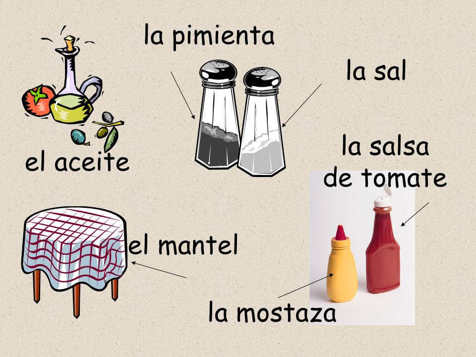 el aceite la pimienta la sal el mantel la mostaza la salsa de tomate