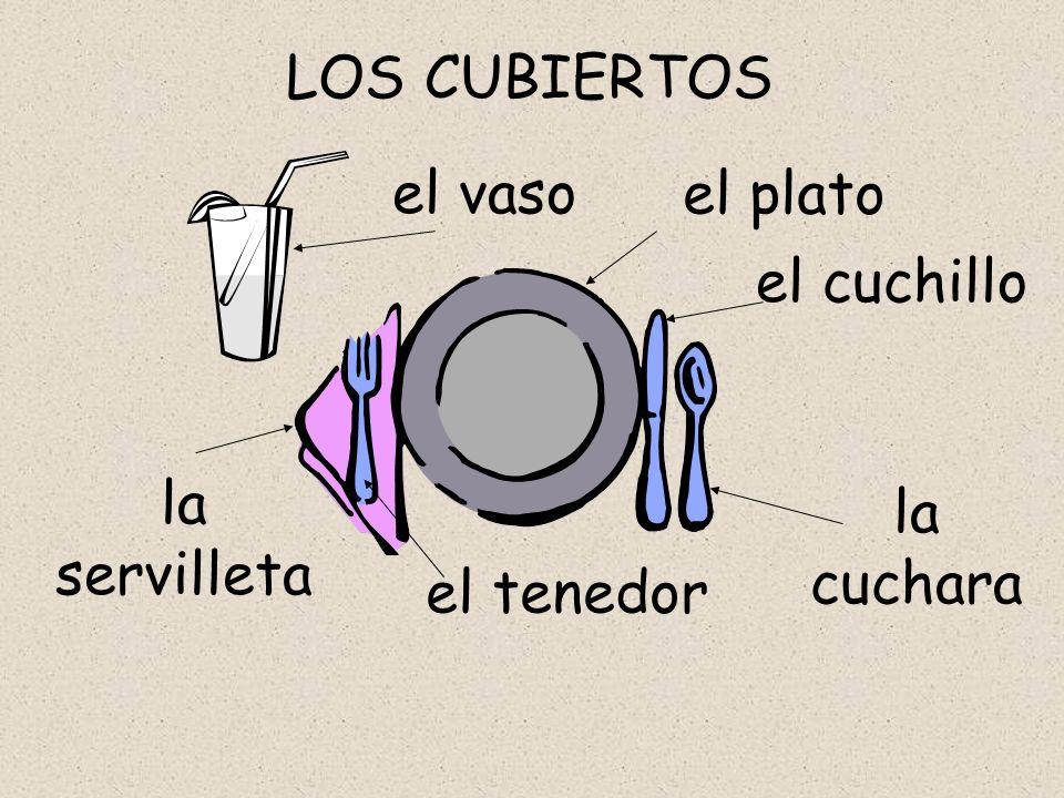 el vaso LOS CUBIERTOS el plato la servilleta el tenedor el cuchillo la cuchara