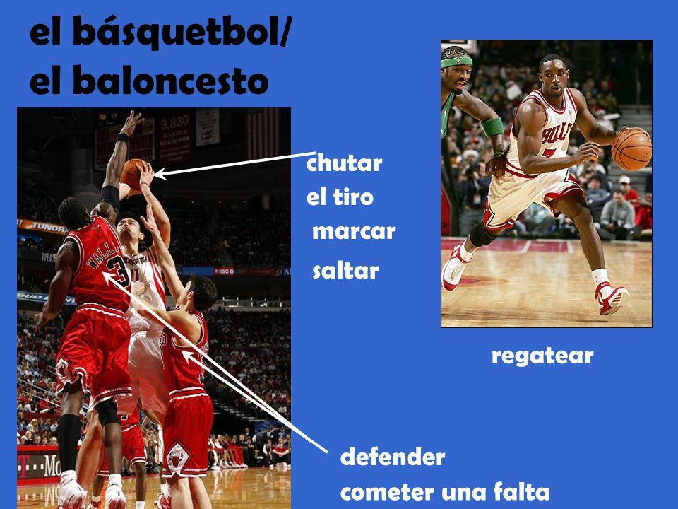 el básquetbol/ el baloncesto cometer una falta el tiro marcar defender chutar saltar regatear