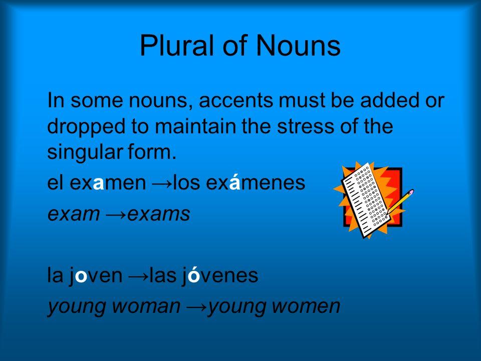 Plural of Nouns la nación las naciones nation nations el interés los intereses the interest the interests