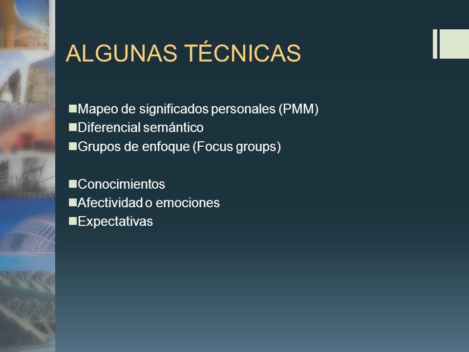 ALGUNAS TÉCNICAS Mapeo de significados personales (PMM) Diferencial semántico Grupos de enfoque (Focus groups) Conocimientos Afectividad o emociones Expectativas