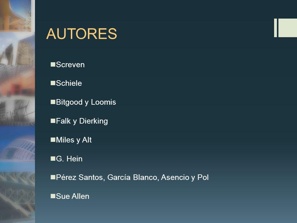 AUTORES Screven Schiele Bitgood y Loomis Falk y Dierking Miles y Alt G. Hein Pérez Santos, García Blanco, Asencio y Pol Sue Allen