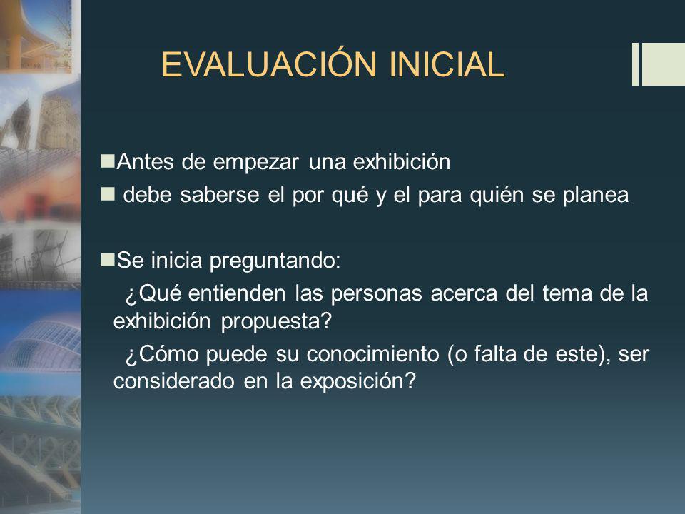 EVALUACIÓN INICIAL Antes de empezar una exhibición debe saberse el por qué y el para quién se planea Se inicia preguntando: ¿Qué entienden las personas acerca del tema de la exhibición propuesta.