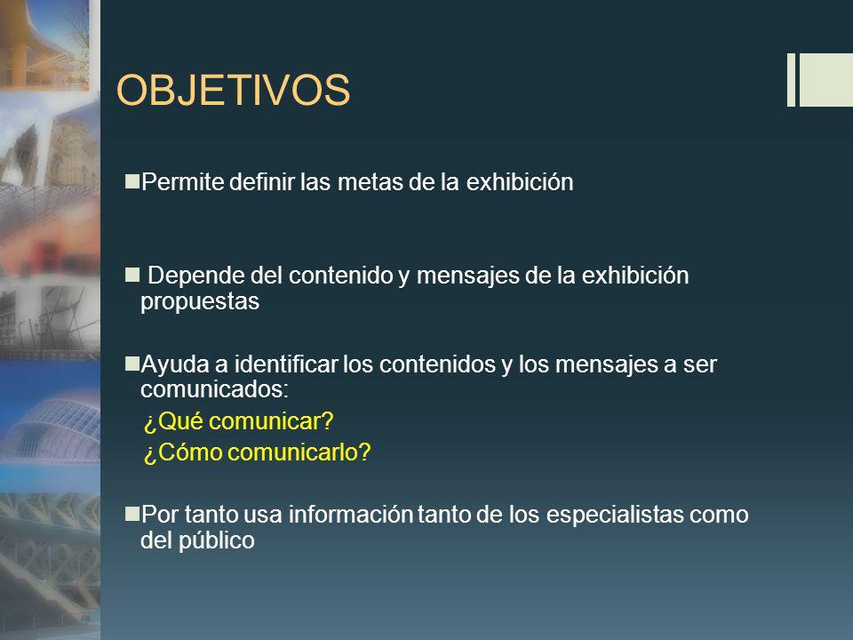 OBJETIVOS Permite definir las metas de la exhibición Depende del contenido y mensajes de la exhibición propuestas Ayuda a identificar los contenidos y