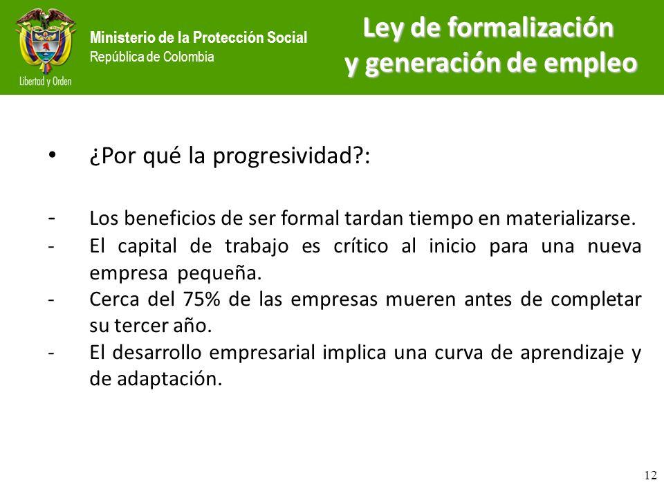 Ministerio de la Protección Social República de Colombia ¿Por qué la progresividad?: - Los beneficios de ser formal tardan tiempo en materializarse. -