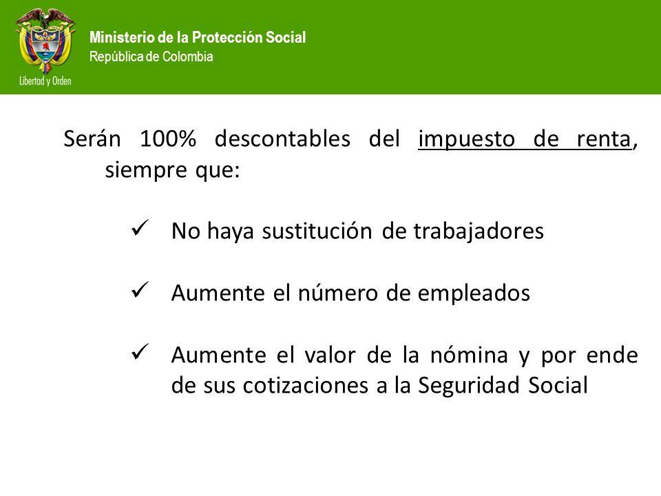 Ministerio de la Protección Social República de Colombia Serán 100% descontables del impuesto de renta, siempre que: No haya sustitución de trabajador