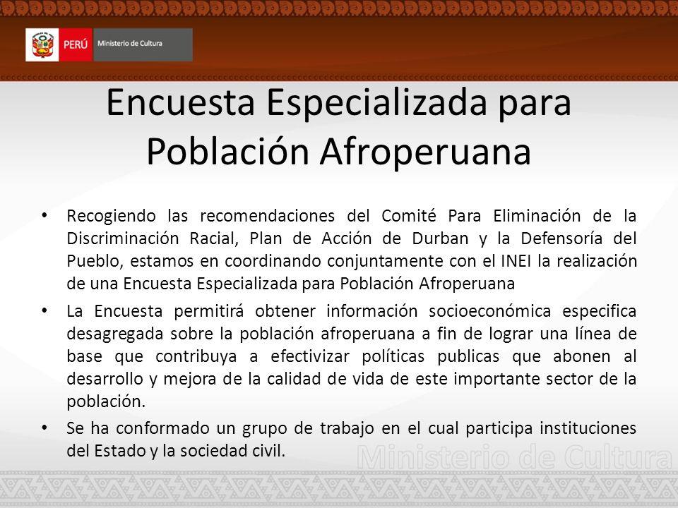 Encuesta Especializada para Población Afroperuana Recogiendo las recomendaciones del Comité Para Eliminación de la Discriminación Racial, Plan de Acci