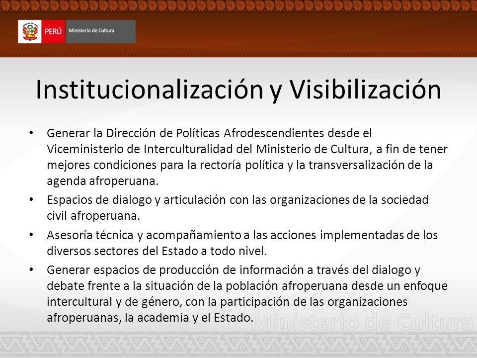 Institucionalización y Visibilización Generar la Dirección de Políticas Afrodescendientes desde el Viceministerio de Interculturalidad del Ministerio