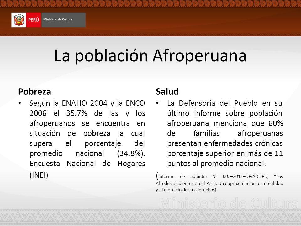Educación Respecto a la educación universitaria solo el 2% de la población afroperuana, logra concluir sus estudios, según reporta el Estado peruano en su informe periódico ante el Comité para la Eliminación de la discriminación Racial (CERD - 2008) En un reciente estudio presentado por el PNUD sobre la situación socioeconómica de la población afroperuana (2012): La tasa de Analfabetismo se ha reducido en el Perú.