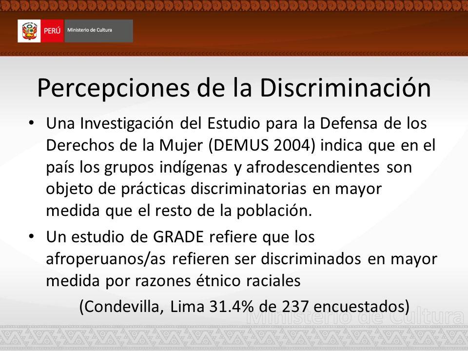 Percepciones de la Discriminación Una Investigación del Estudio para la Defensa de los Derechos de la Mujer (DEMUS 2004) indica que en el país los gru