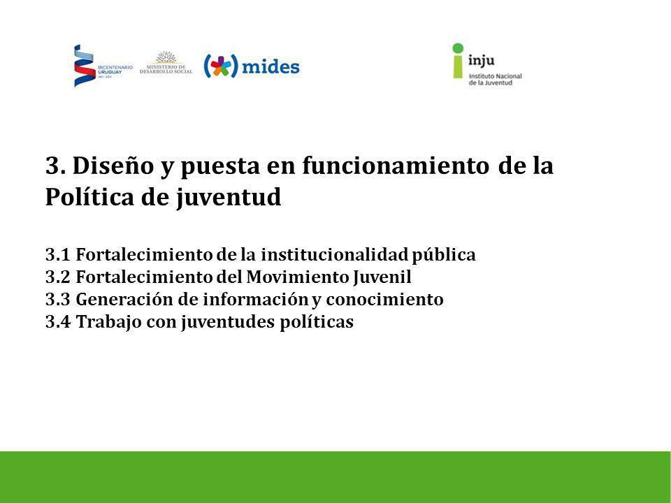 3. Diseño y puesta en funcionamiento de la Política de juventud 3.1 Fortalecimiento de la institucionalidad pública 3.2 Fortalecimiento del Movimiento