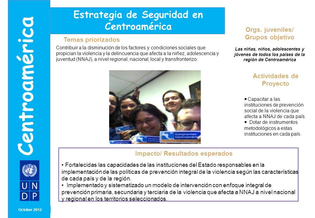 Orgs. juveniles/ Grupos objetivo Las niñas, niños, adolescentes y jóvenes de todos los países de la región de Centroamérica MONTH/ YEAR Impacto/ Resul