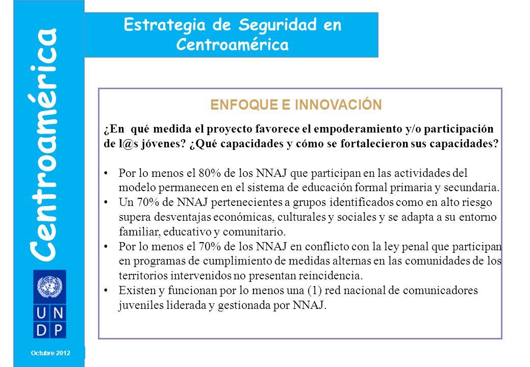MONTH/ YEAR ENFOQUE E INNOVACIÓN Octubre 2012 Centroamérica Estrategia de Seguridad en Centroamérica ¿En qué medida el proyecto favorece el empoderami