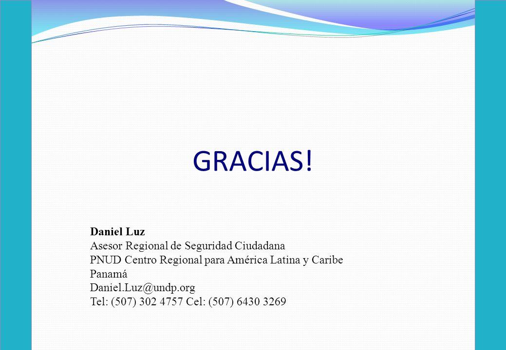 GRACIAS! Daniel Luz Asesor Regional de Seguridad Ciudadana PNUD Centro Regional para América Latina y Caribe Panamá Daniel.Luz@undp.org Tel: (507) 302