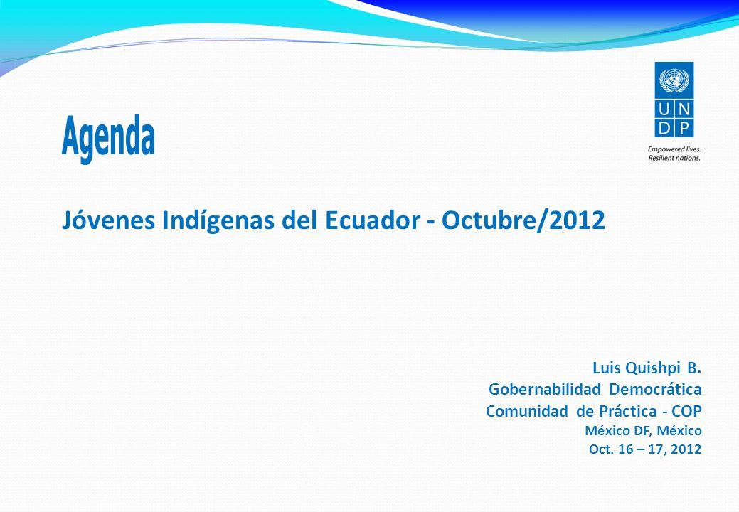 Jóvenes Indígenas del Ecuador - Octubre/2012 Luis Quishpi B.