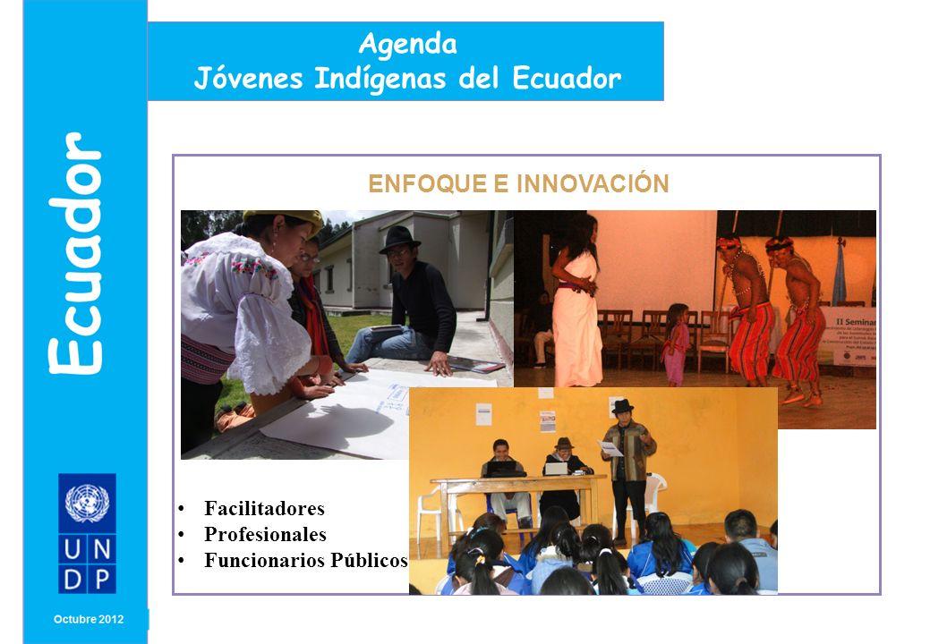 MONTH/ YEAR ENFOQUE E INNOVACIÓN Agenda Jóvenes Indígenas del Ecuador Facilitadores Profesionales Funcionarios Públicos