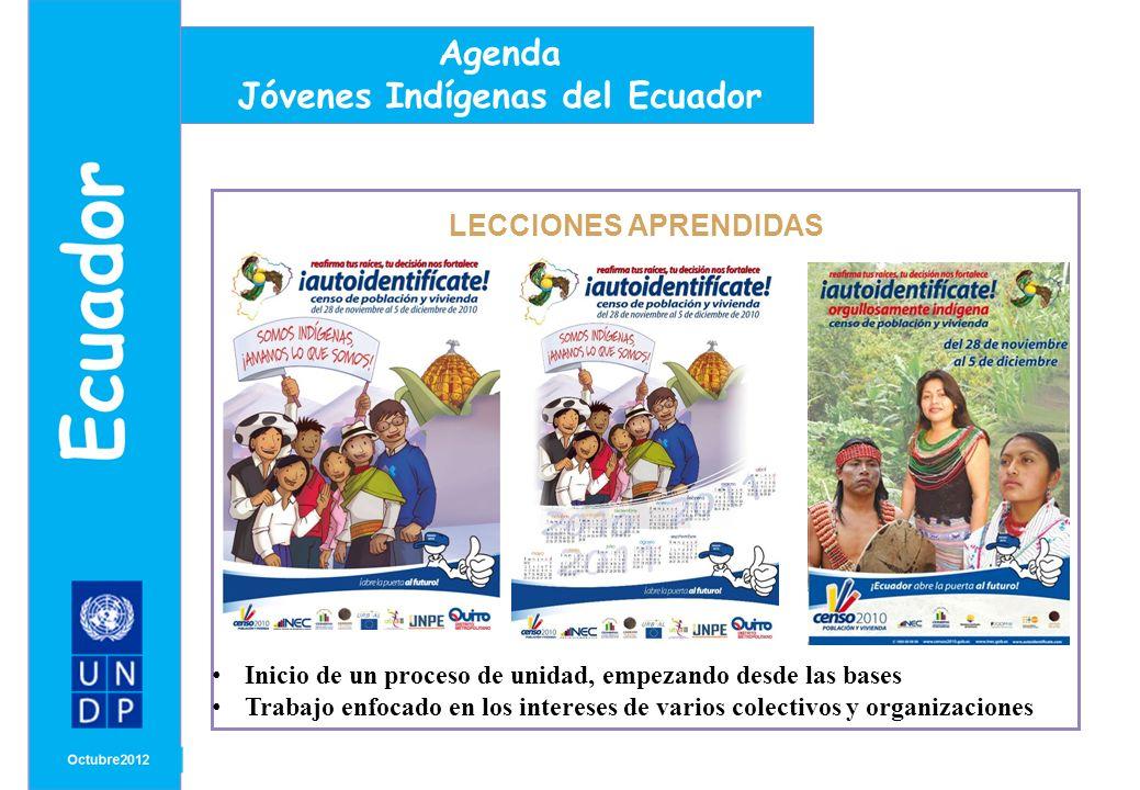 MONTH/ YEAR LECCIONES APRENDIDAS Agenda Jóvenes Indígenas del Ecuador Inicio de un proceso de unidad, empezando desde las bases Trabajo enfocado en los intereses de varios colectivos y organizaciones