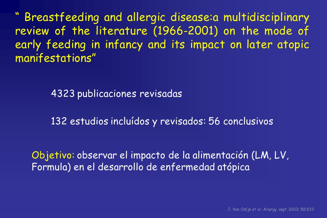 Breastfeeding and allergic disease:a multidisciplinary review of the literature (1966-2001) on the mode of early feeding in infancy and its impact on