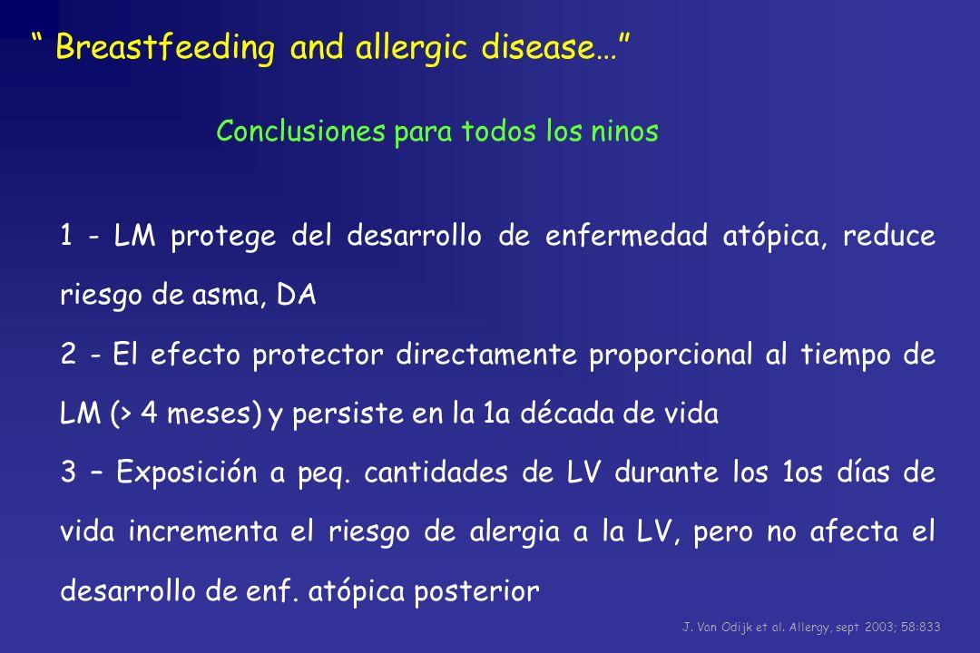1 - LM protege del desarrollo de enfermedad atópica, reduce riesgo de asma, DA 2 - El efecto protector directamente proporcional al tiempo de LM (> 4