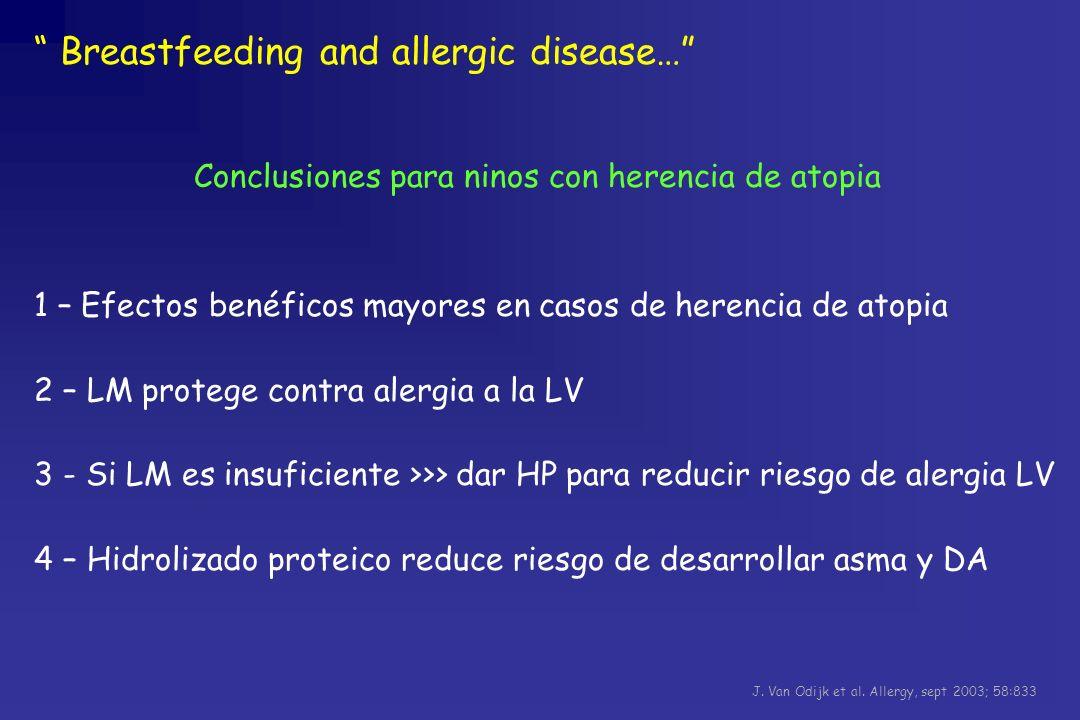 Conclusiones para ninos con herencia de atopia 1 – Efectos benéficos mayores en casos de herencia de atopia 2 – LM protege contra alergia a la LV 3 -