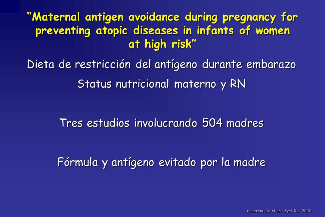 Cochrane Database Syst Rev 2000 Dieta de restricción del antígeno durante embarazo Status nutricional materno y RN Tres estudios involucrando 504 madr