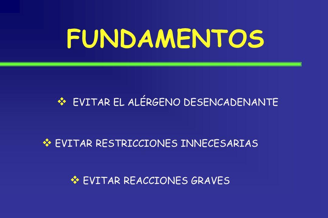 FUNDAMENTOS EVITAR EL ALÉRGENO DESENCADENANTE EVITAR RESTRICCIONES INNECESARIAS EVITAR REACCIONES GRAVES