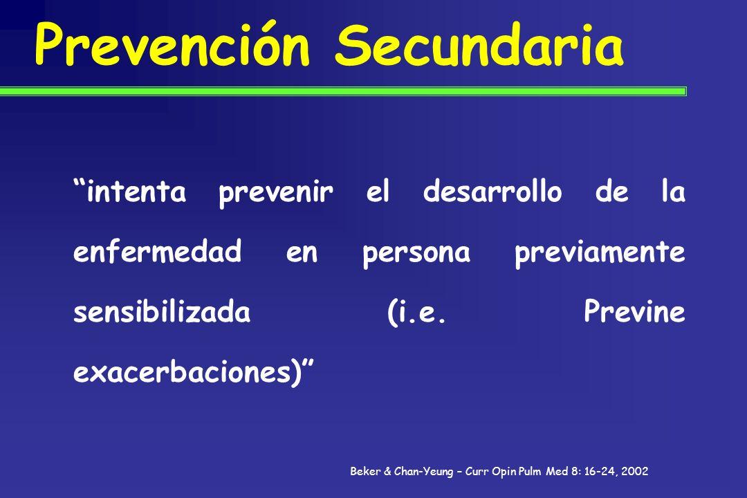 Prevención Secundaria intenta prevenir el desarrollo de la enfermedad en persona previamente sensibilizada (i.e. Previne exacerbaciones) Beker & Chan-