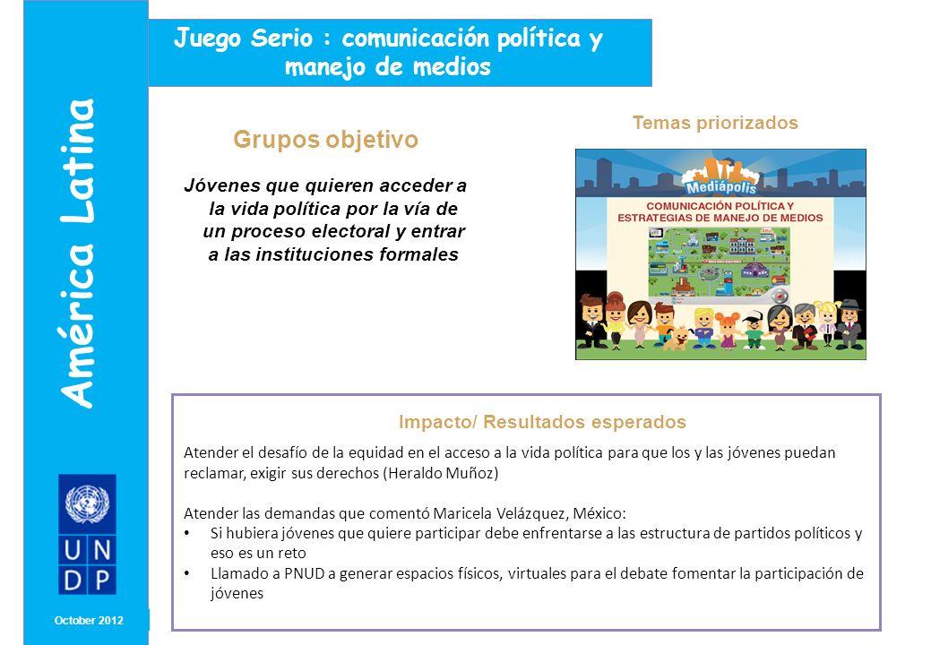 MONTH/ YEAR Participación de jóvenes Octubre2012 América Latina Jóvenes líderes y lideresas políticas participaron en el diseño de los contenidos aportando sus experiencias.
