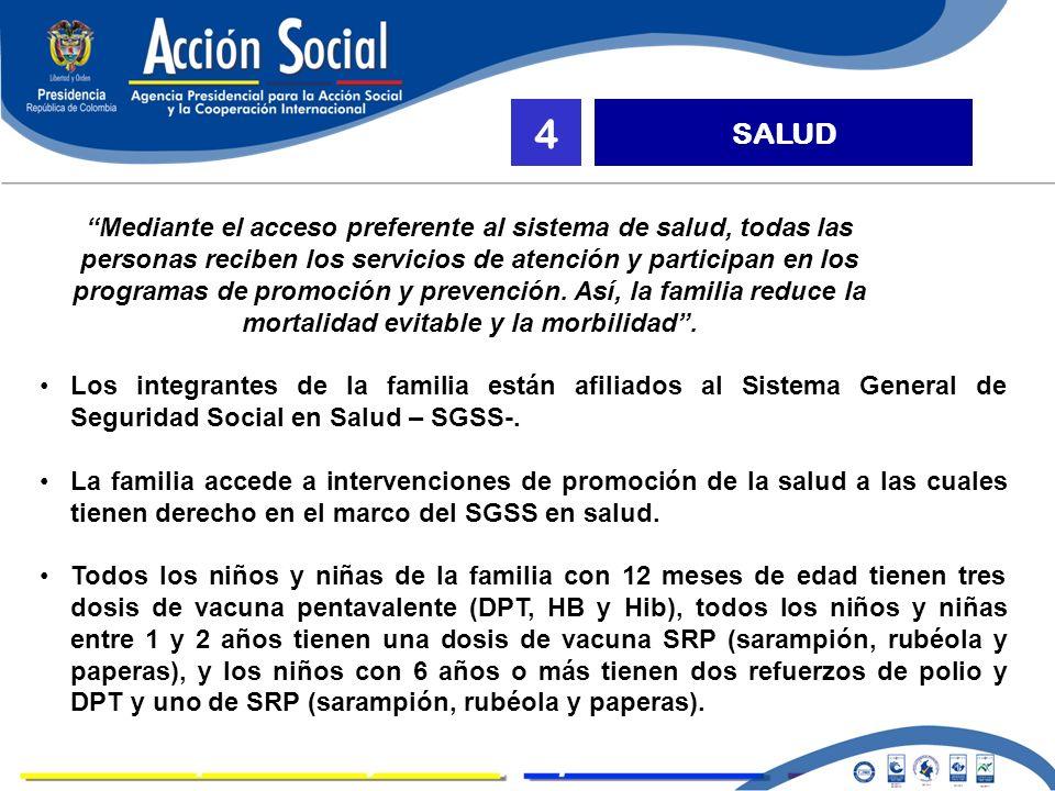 LOGROS SALUD 4 Mediante el acceso preferente al sistema de salud, todas las personas reciben los servicios de atención y participan en los programas de promoción y prevención.