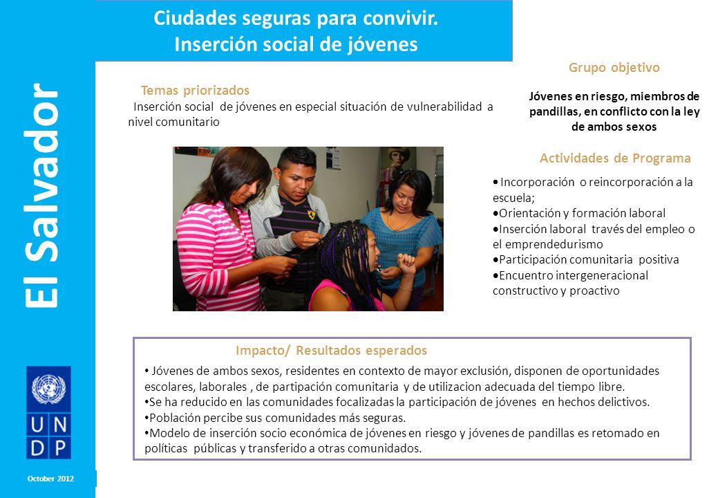 Grupo objetivo Jóvenes en riesgo, miembros de pandillas, en conflicto con la ley de ambos sexos MONTH/ YEAR Impacto/ Resultados esperados Temas priori