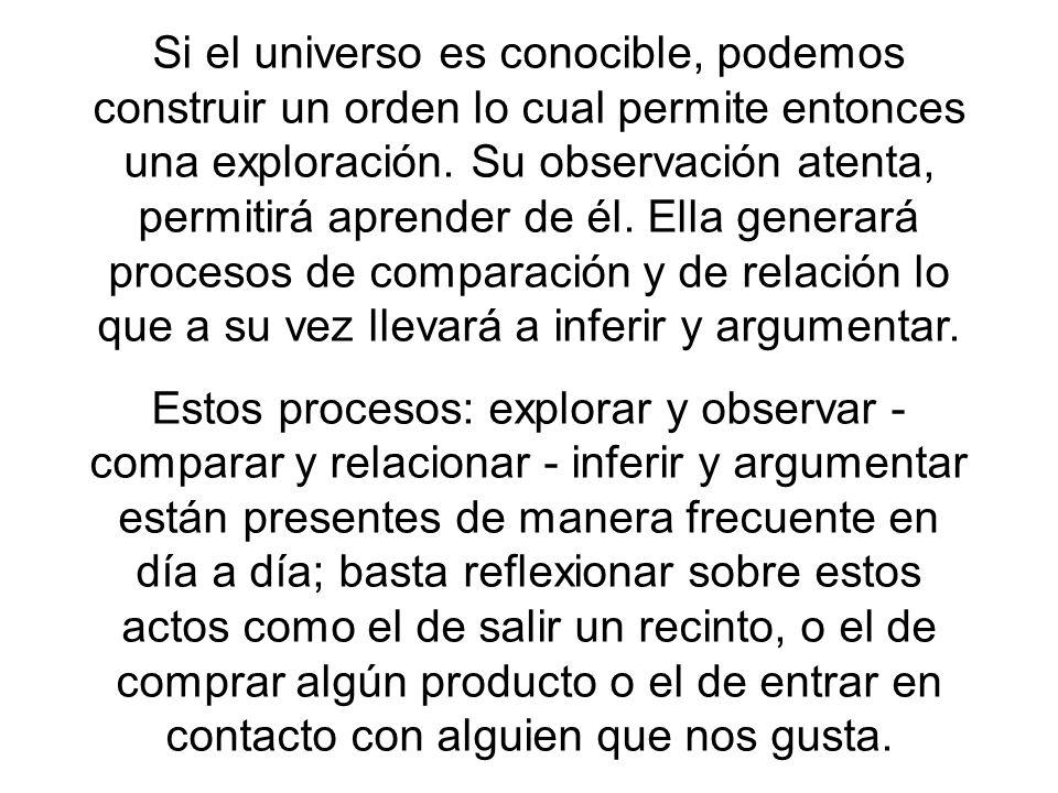 Si el universo es conocible, podemos construir un orden lo cual permite entonces una exploración. Su observación atenta, permitirá aprender de él. Ell