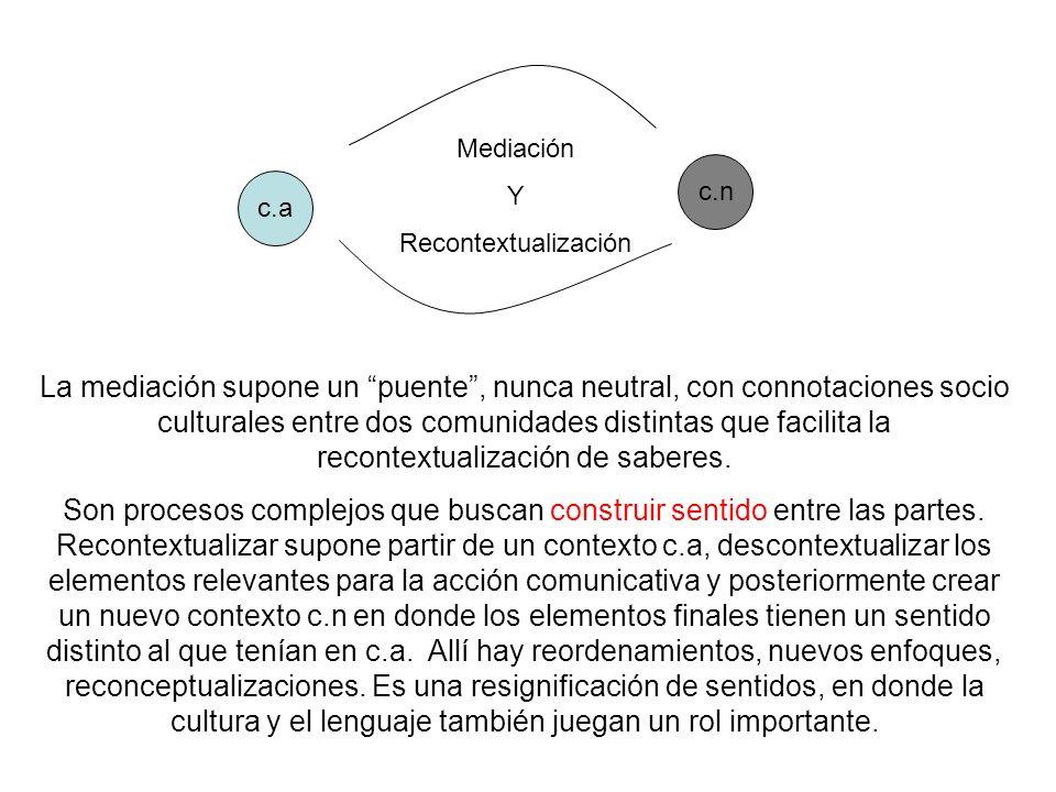 c.a c.n Mediación Y Recontextualización La mediación supone un puente, nunca neutral, con connotaciones socio culturales entre dos comunidades distint