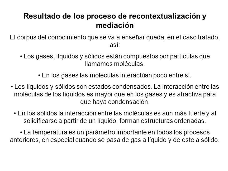 Resultado de los proceso de recontextualización y mediación El corpus del conocimiento que se va a enseñar queda, en el caso tratado, así: Los gases,