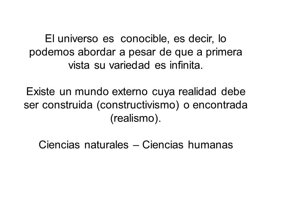 El universo es conocible, es decir, lo podemos abordar a pesar de que a primera vista su variedad es infinita. Existe un mundo externo cuya realidad d