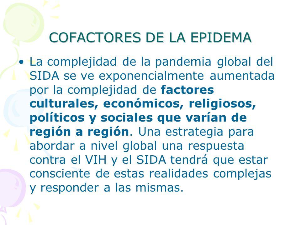 COFACTORES DE LA EPIDEMA La complejidad de la pandemia global del SIDA se ve exponencialmente aumentada por la complejidad de factores culturales, eco