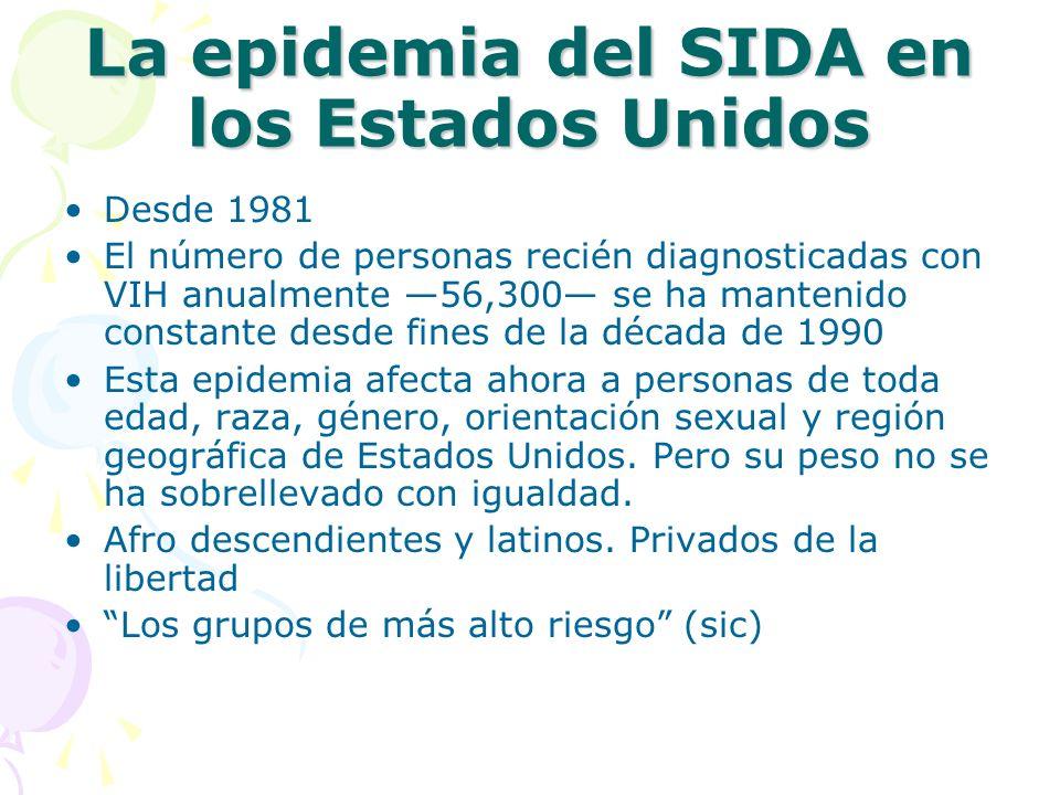 La epidemia del SIDA en los Estados Unidos Desde 1981 El número de personas recién diagnosticadas con VIH anualmente 56,300 se ha mantenido constante