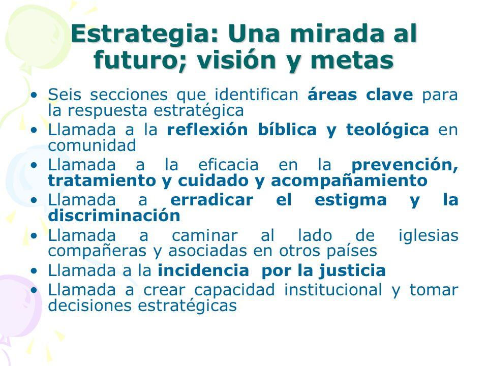 Estrategia: Una mirada al futuro; visión y metas Seis secciones que identifican áreas clave para la respuesta estratégica Llamada a la reflexión bíbli