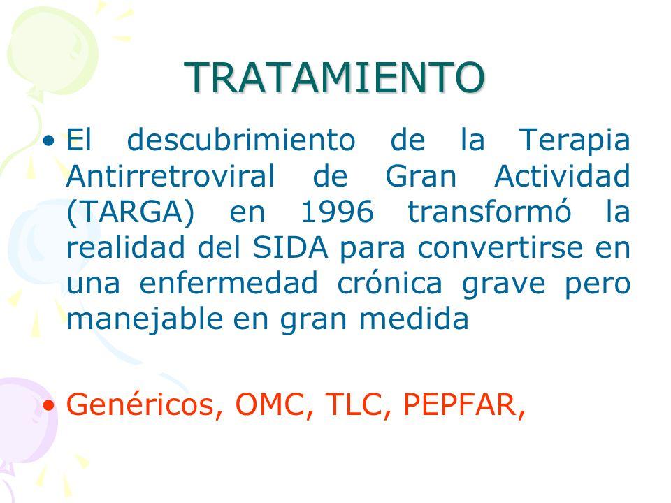 TRATAMIENTO El descubrimiento de la Terapia Antirretroviral de Gran Actividad (TARGA) en 1996 transformó la realidad del SIDA para convertirse en una