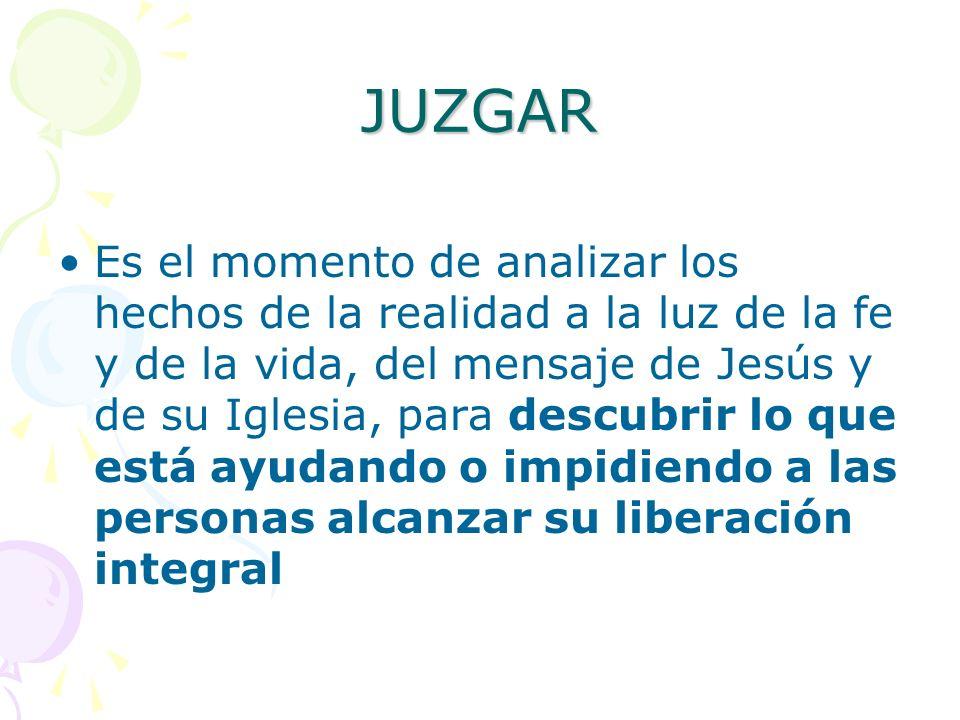 JUZGAR Es el momento de analizar los hechos de la realidad a la luz de la fe y de la vida, del mensaje de Jesús y de su Iglesia, para descubrir lo que