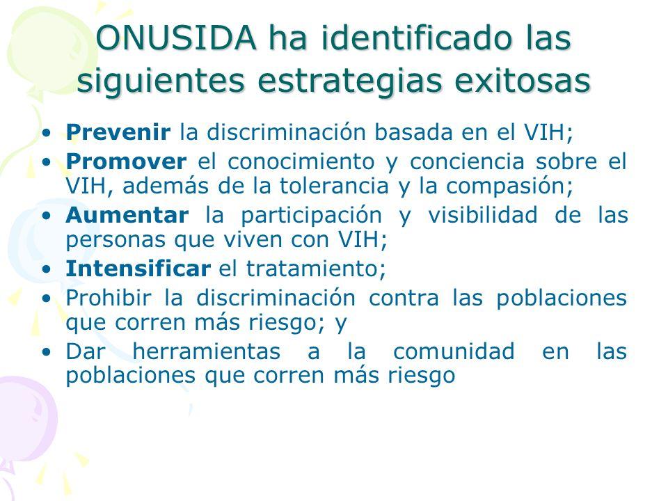 ONUSIDA ha identificado las siguientes estrategias exitosas Prevenir la discriminación basada en el VIH; Promover el conocimiento y conciencia sobre e