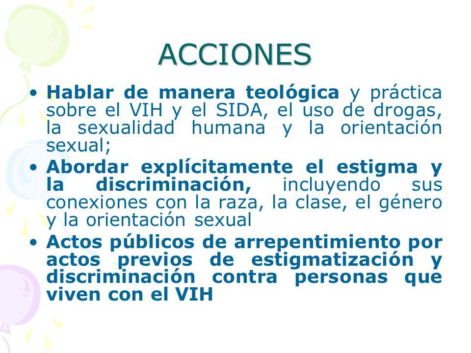 ACCIONES Hablar de manera teológica y práctica sobre el VIH y el SIDA, el uso de drogas, la sexualidad humana y la orientación sexual; Abordar explíci