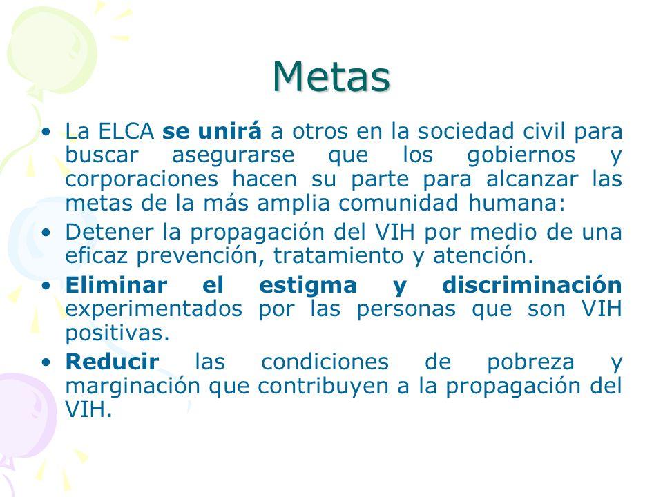 Metas La ELCA se unirá a otros en la sociedad civil para buscar asegurarse que los gobiernos y corporaciones hacen su parte para alcanzar las metas de