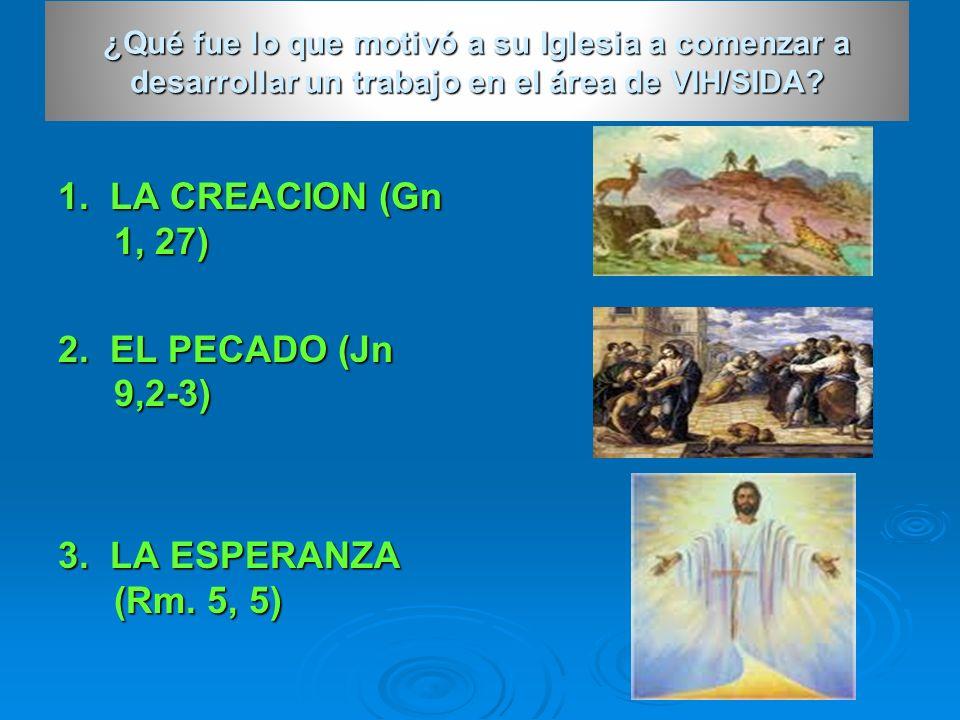 1. LA CREACION (Gn 1, 27) 2. EL PECADO (Jn 9,2-3) 3. LA ESPERANZA (Rm. 5, 5) ¿Qué fue lo que motivó a su Iglesia a comenzar a desarrollar un trabajo e