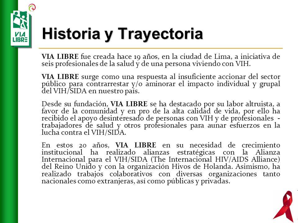 Historia y Trayectoria VIA LIBRE fue creada hace 19 años, en la ciudad de Lima, a iniciativa de seis profesionales de la salud y de una persona viviendo con VIH.