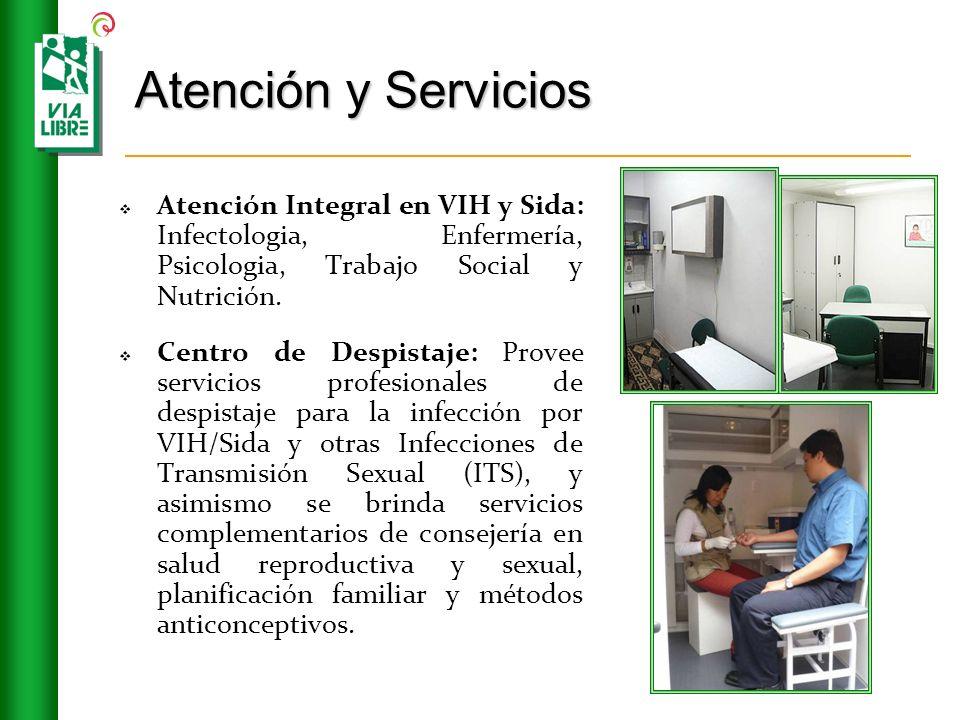 Atención y Servicios Atención Integral en VIH y Sida: Infectologia, Enfermería, Psicologia, Trabajo Social y Nutrición. Centro de Despistaje: Provee s