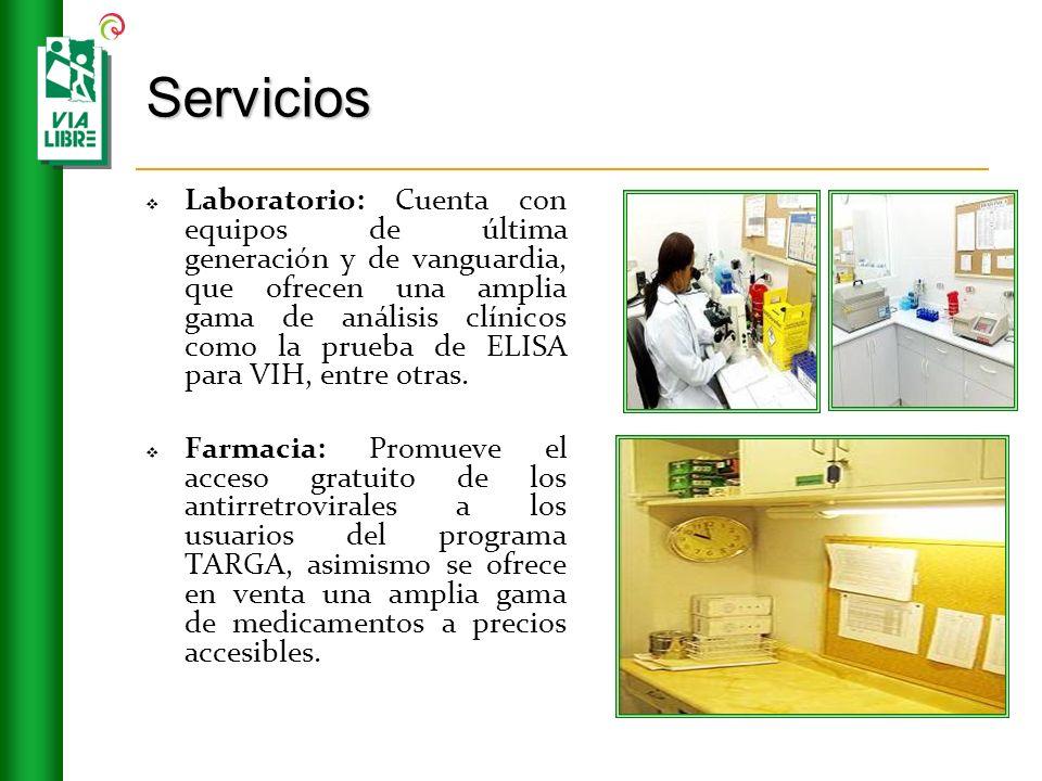 Servicios Laboratorio: Cuenta con equipos de última generación y de vanguardia, que ofrecen una amplia gama de análisis clínicos como la prueba de ELI