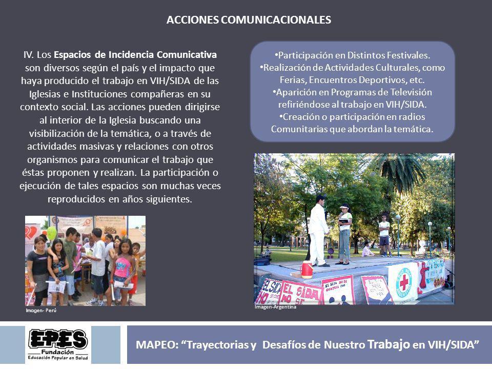 ACCIONES COMUNICACIONALES IV. Los Espacios de Incidencia Comunicativa son diversos según el país y el impacto que haya producido el trabajo en VIH/SID