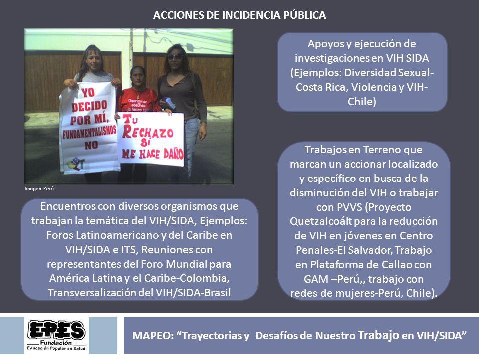 ACCIONES DE INCIDENCIA PÚBLICA Apoyos y ejecución de investigaciones en VIH SIDA (Ejemplos: Diversidad Sexual- Costa Rica, Violencia y VIH- Chile) Tra